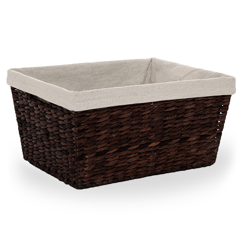 Audrey Light Brown Rush Storage Basket with Liner - Medium 13in