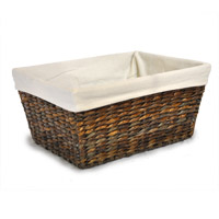 Audrey Mahogany Rush Storage Basket with Liner