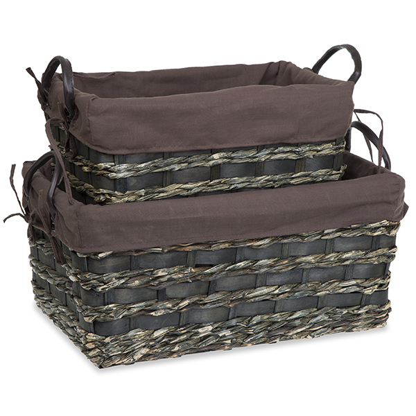 Rect Utility Basket with Faux Leather Handles - Set of Two