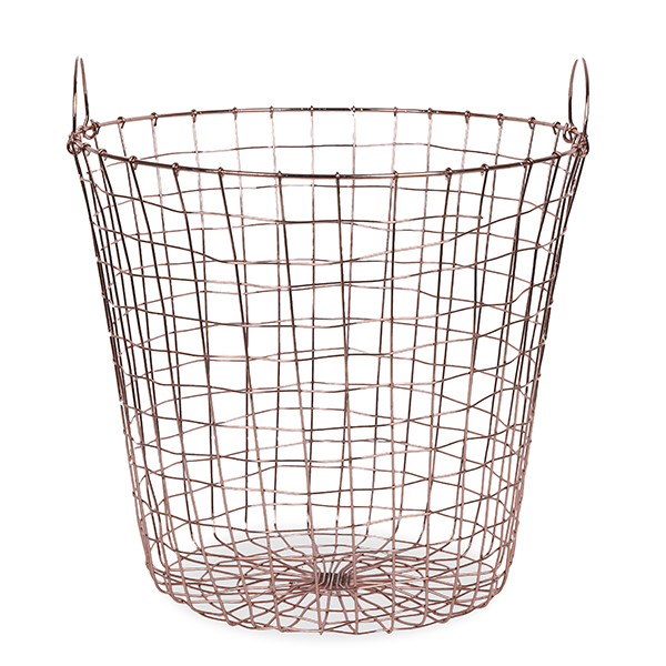 Stella Round Wire Basket with Side Handles - Copper 14in