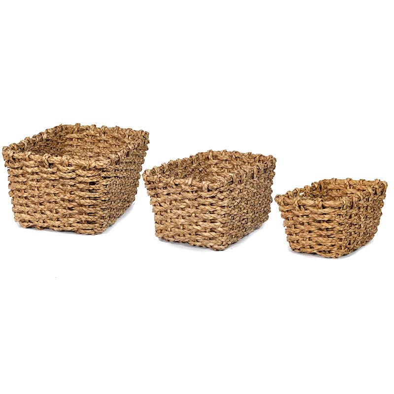 Del Mar Braided Natural Palm Rect Utility - Set of Three