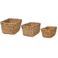 Del Mar Braided Natural Palm Rectangular Utility - Set of Three