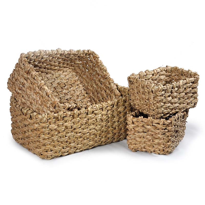 Del Mar Braided Natural Palm Utility Baskets - Set of Four