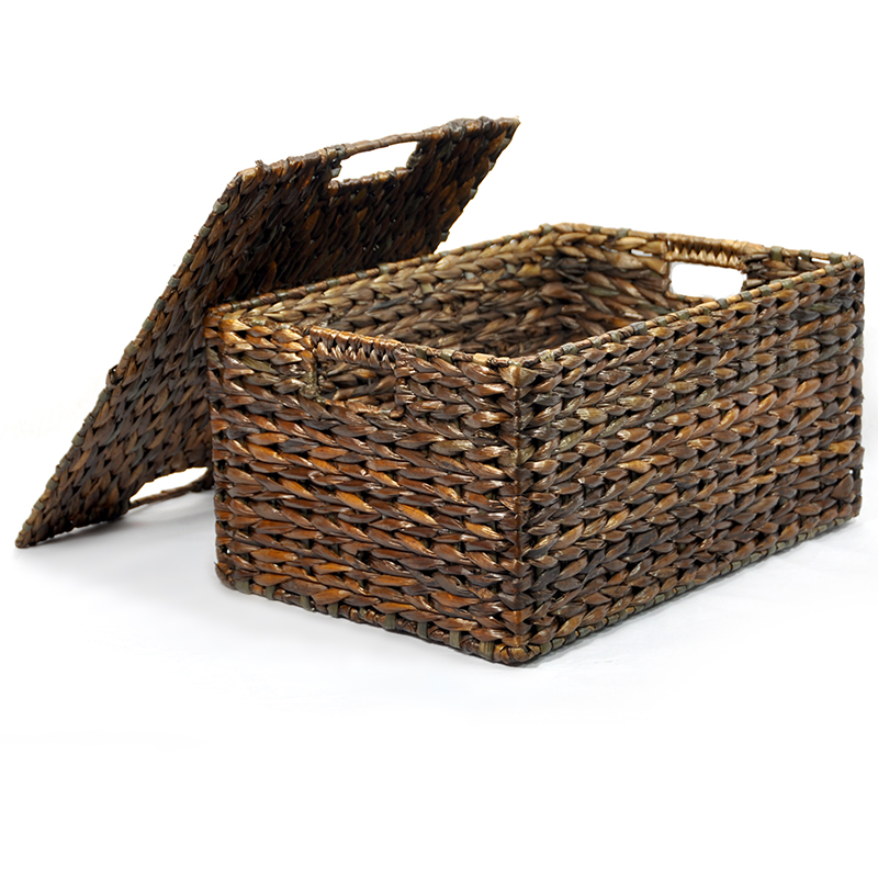 audrey mahogany storage basket with removable lid small the lucky clover trading co. Black Bedroom Furniture Sets. Home Design Ideas