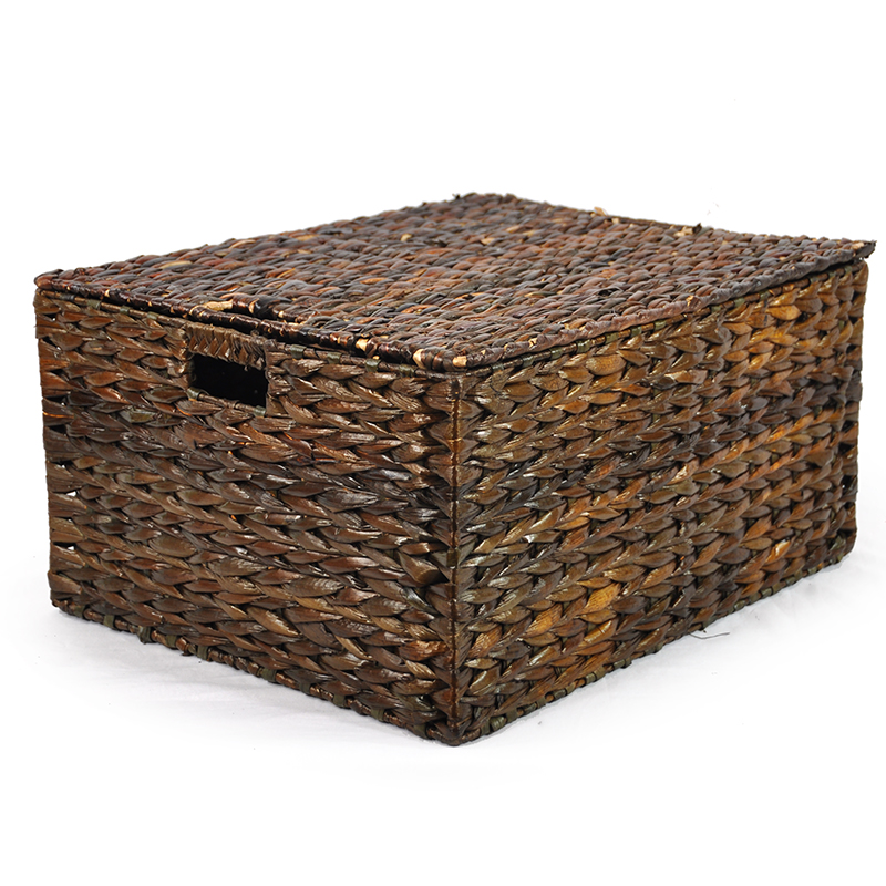 Audrey Mahogany Storage Basket Removable Lid Large 20in