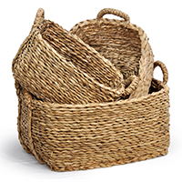 Del Mar Braided Palm Rect Baskets with Handles - Set of Three