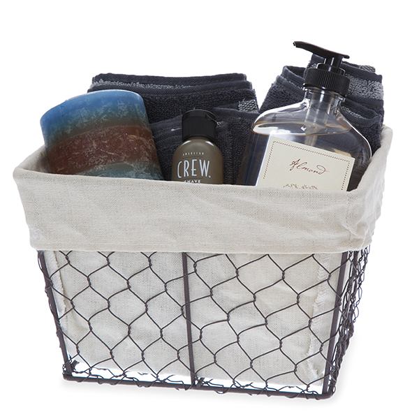 Stella Rect Wire Basket with Cloth Liner - Small 9in
