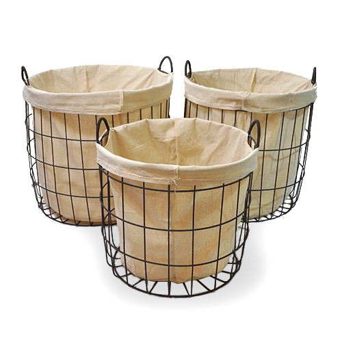 Stella Round Steel Utility with Cloth Liner  - Set of Three