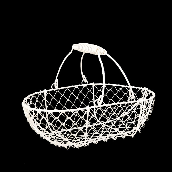 Stella White Mini Wire Oblong Basket 9in