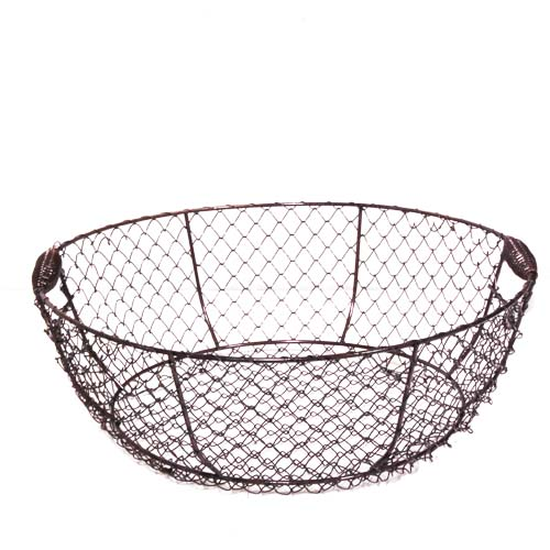 Stella Medium Round Copper Brushed Wire Basket 11in
