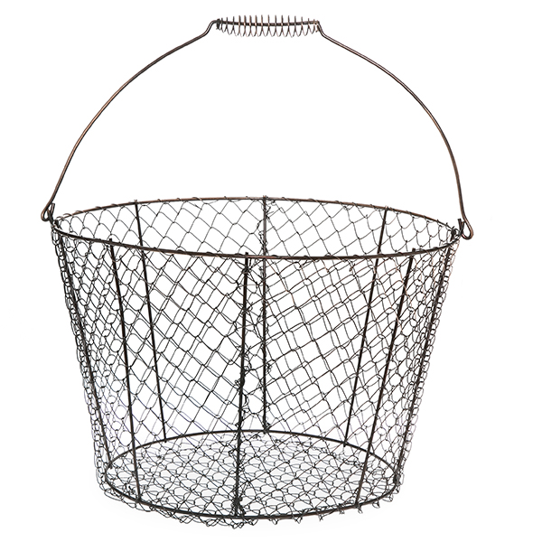 Stella Copper Brushed Mesh Basket with Swing Handle 13in