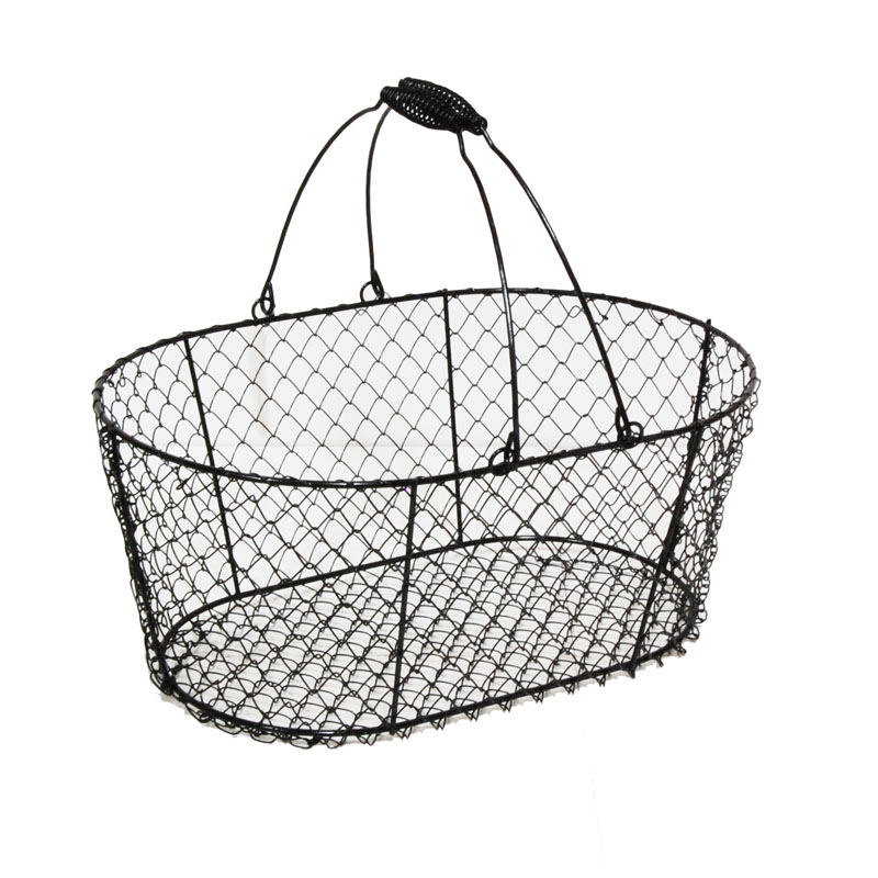 Stella Oblong Wire Basket With Swing Handle Black The