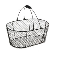 Stella Oblong Wire Bucket with Swing Handle - Black