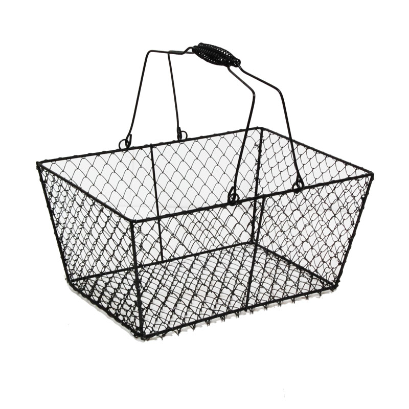 Wire Rectangular Mesh with Swing Handle - Black The Lucky Clover ...