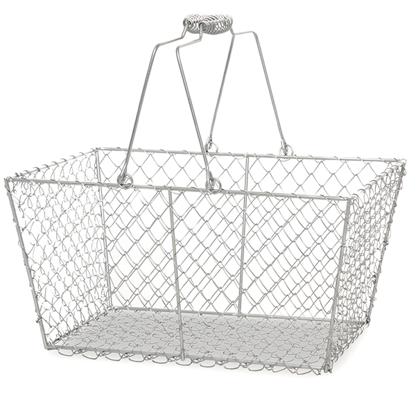 Stella Wire Rect Mesh Shopping Basket - Matte Gray 12in
