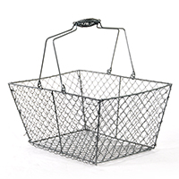Stella Wire Rectangular Mesh with Swing Handle - Gray