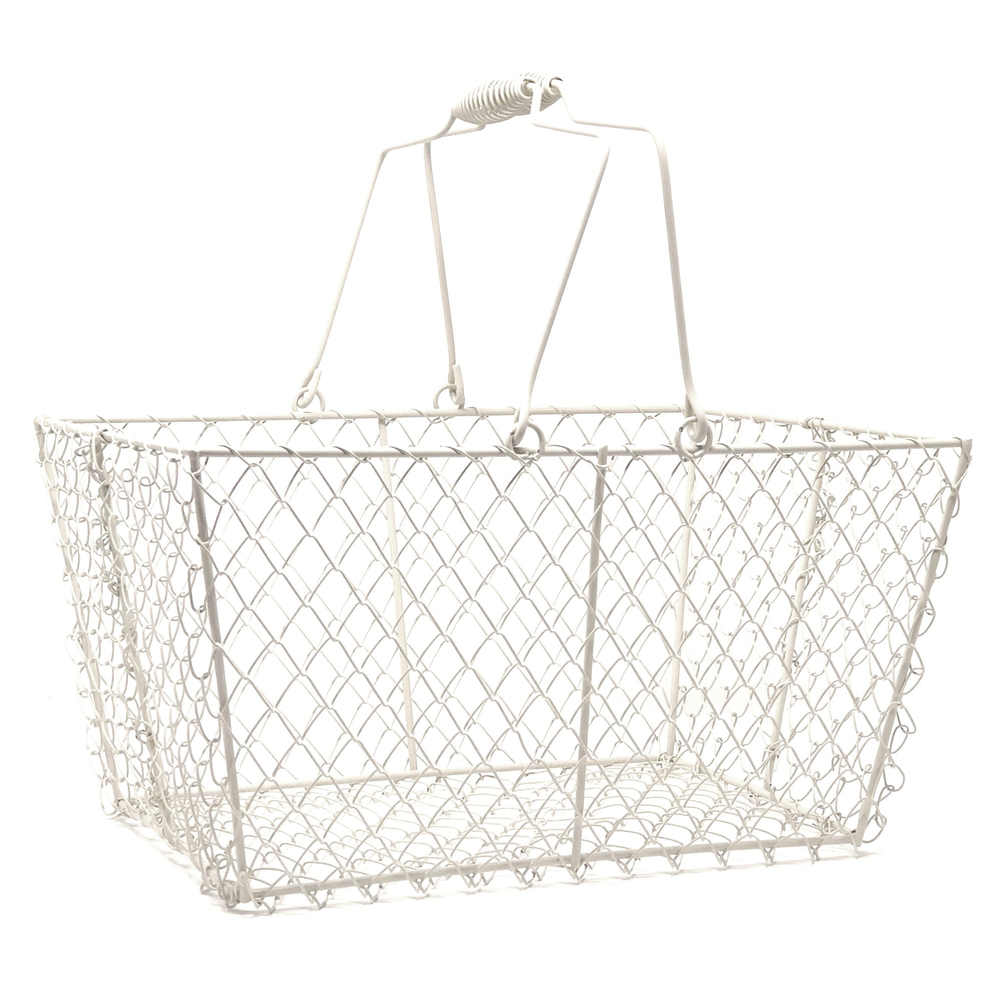 Stella Rectangular Wire Mesh Shopping Basket - Cream 12in