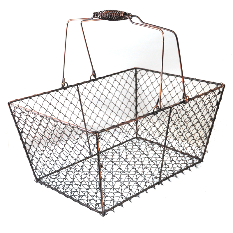 Stella Rectangular Wire Mesh Shopping Basket - Shiny Silver The ...