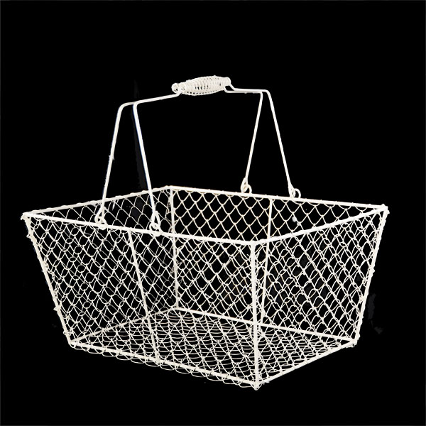 Stella Rectangular Wire Mesh Shopping Basket - White 12in
