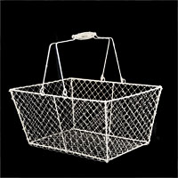 Stella Rectangular Wire Mesh with Swing Handle - White