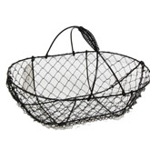 Stella Oblong Wire Fixed Handle Basket (Black)