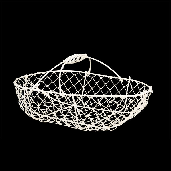 Stella Oblong Wire Fixed Handle Basket - White 11in