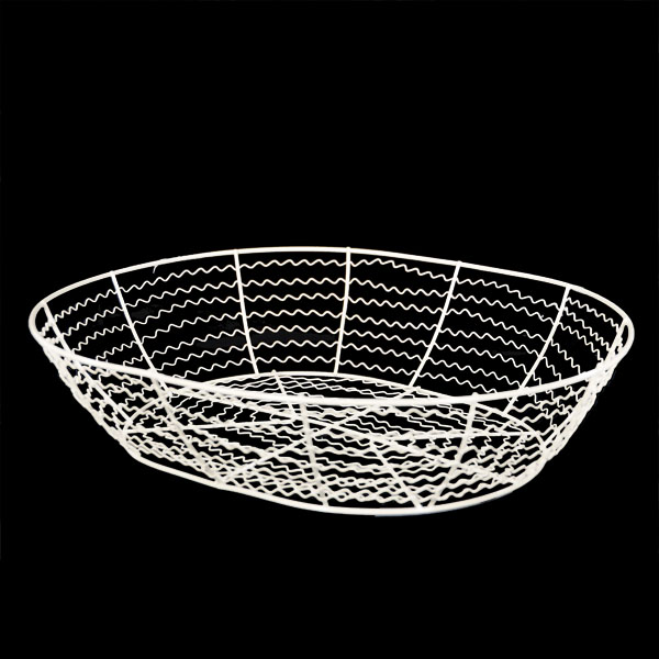 Stella White Oval Wire Basket 13in