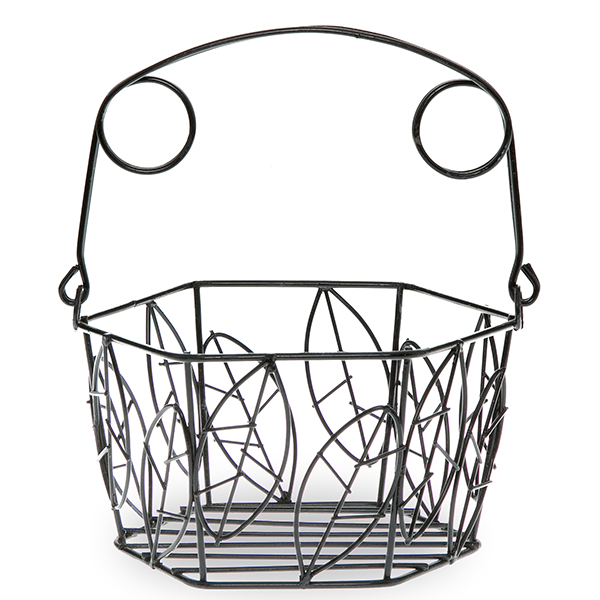 Stella Mini Hexagon Wire Basket - Leaf Motif 5in