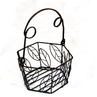 Stella Mini Hexagon Wire Basket - Leaf Motif