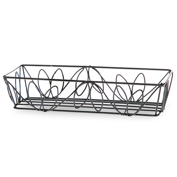 Stella Mini Rectangular Wire Tray - Leaf Motif 8in