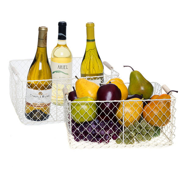 Stella Mesh Utility Basket with Wood Handle Set of Two