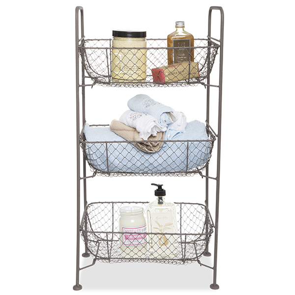 Stella Triple Rect Basket Wire Display - Rust Brown