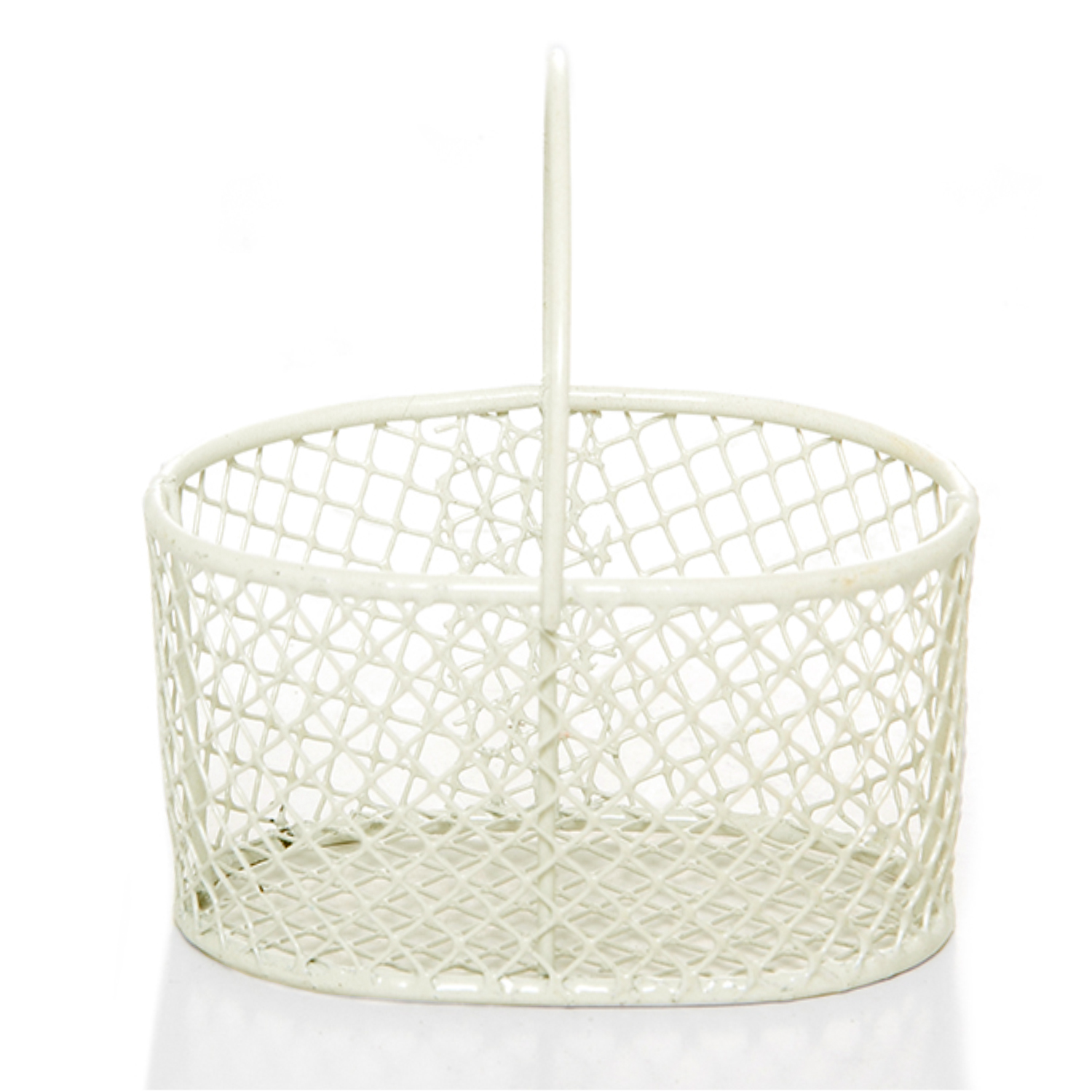 Stella Wire Mini Oval Handle Basket - Off White 3in