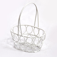 Stella Wire Mini Oblong Handle Basket - White