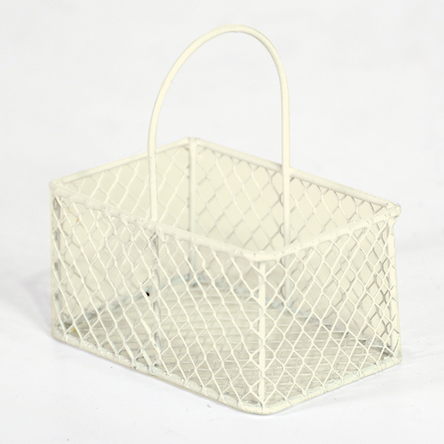 Stella Wire Mini Rectangular Handle Basket - Off White 2in