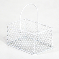 Stella Wire Mini Rectangular Handle Basket - White