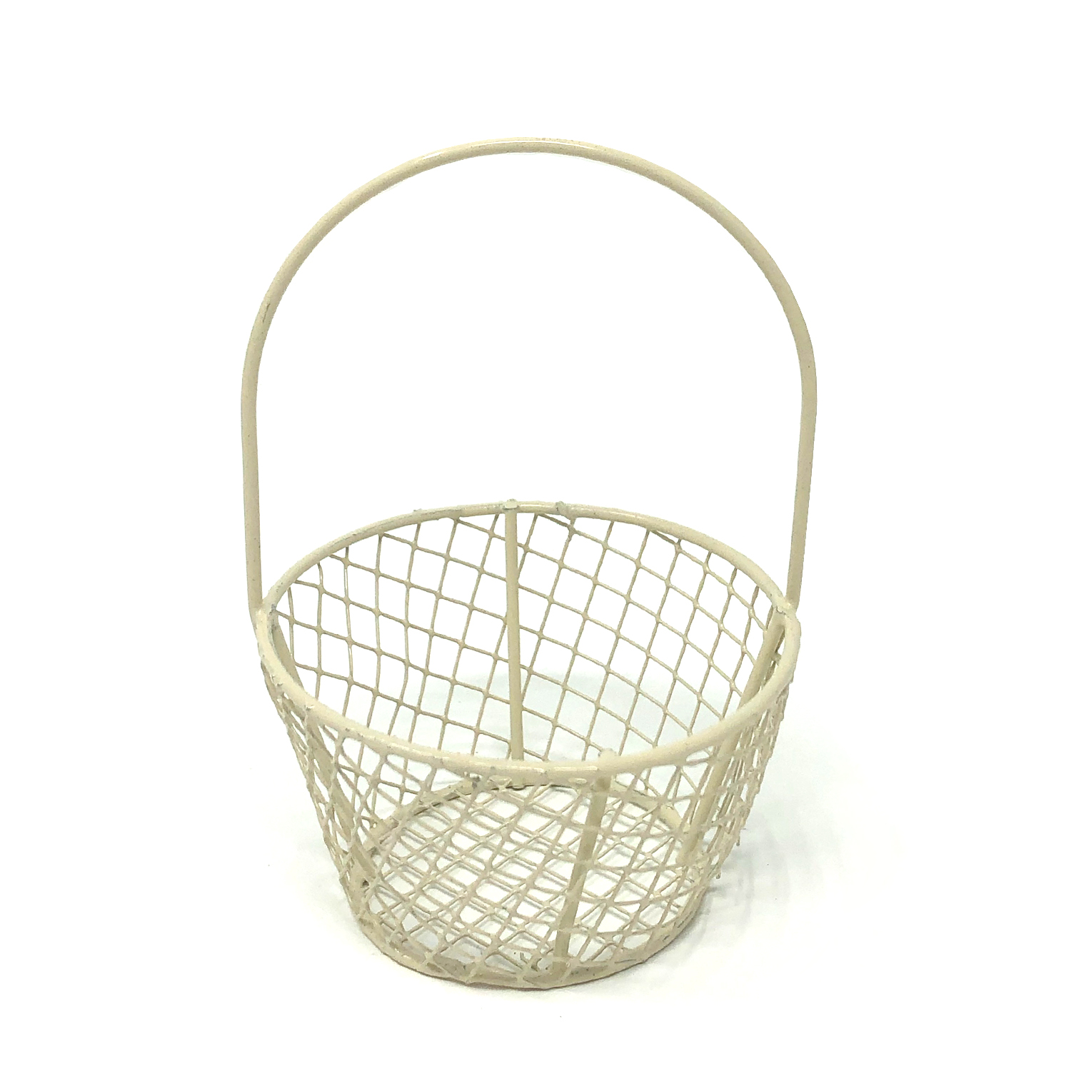 Stella Mini Round Wire Basket - Off White 2in