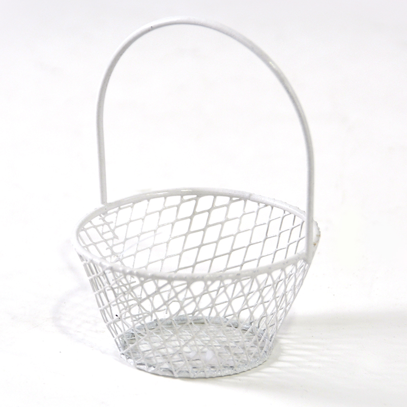 Stella Wire Mini Round Handle Basket - White The Lucky Clover ...