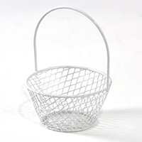 Stella Wire Mini Round Handle Basket - White