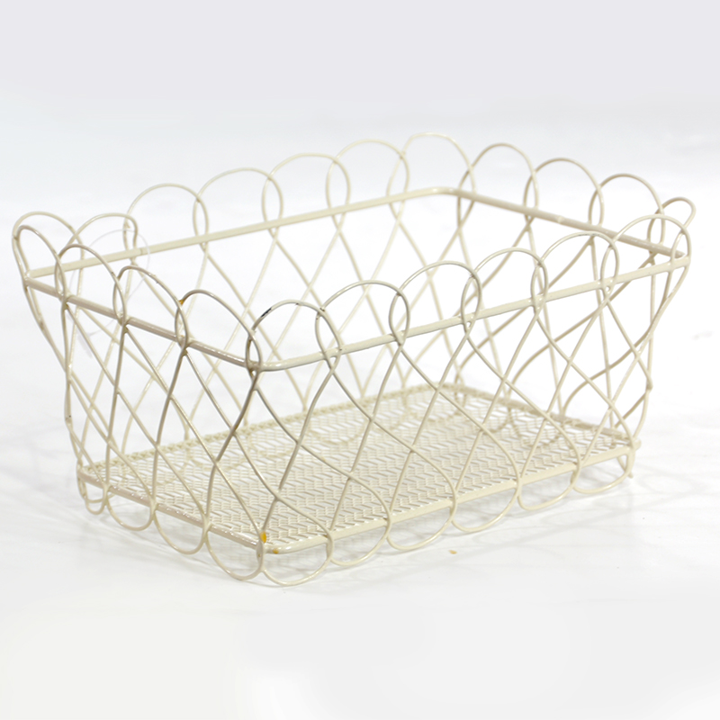 Stella Mini Rectangular Basket with Scalloped Edge- Cream 6in