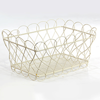Stella Mini Rectangular Basket with Scalloped Edge - Cream