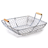 STELLA SQUARE BASKET W/ WOOD HDLS- SMALL