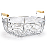 Stella Round Stainless Steel Wire Basket with Wood Handles