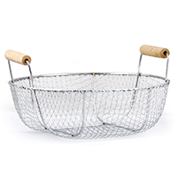 Stella Round Stainless Steel Wire Basket with Wood Handles - Med