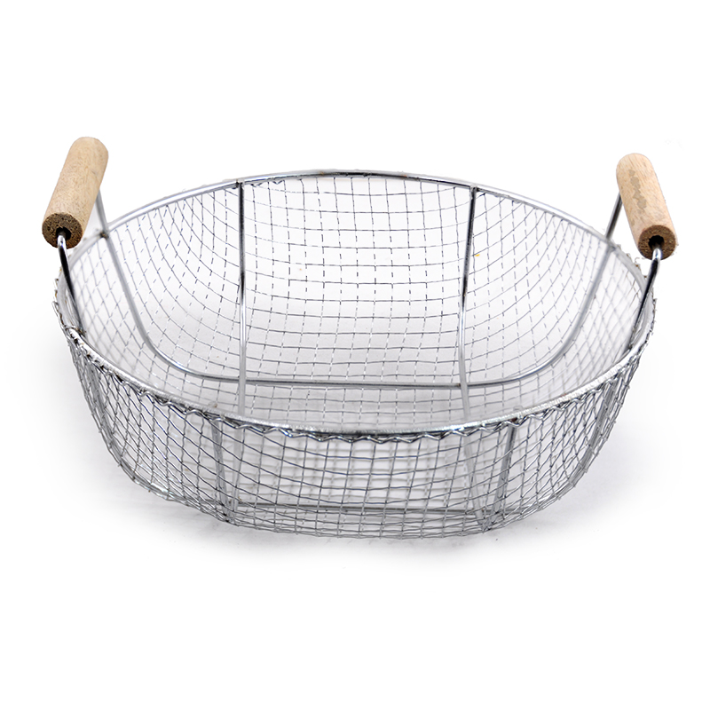 Round Wire Basket With Wood Handles Medium The Lucky