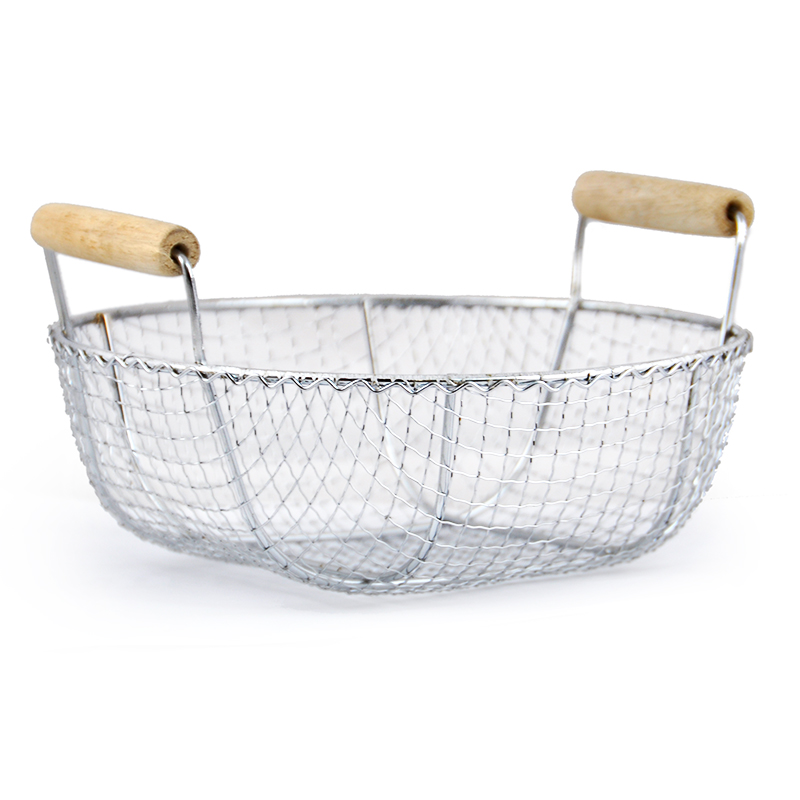 Stella Round Stainless Steel Wire Basket with Wood Handles - Sma