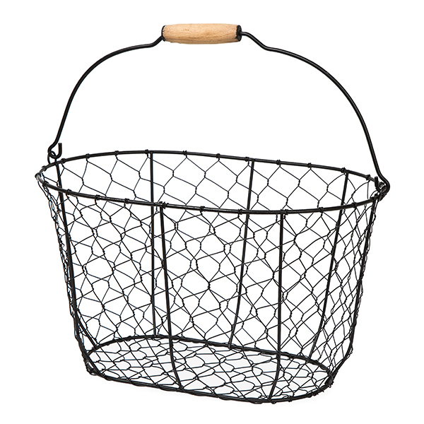 Stella Oblong Black Wire Basket with Swing Handle 12in