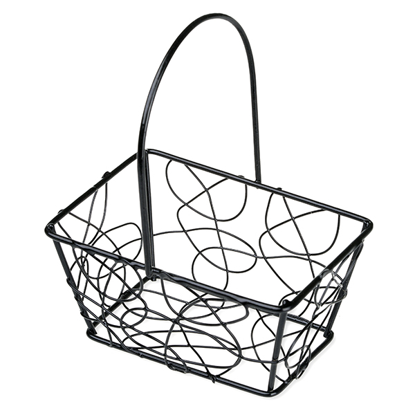 Stella Mini Rect Wire Fixed Handle Basket 4in
