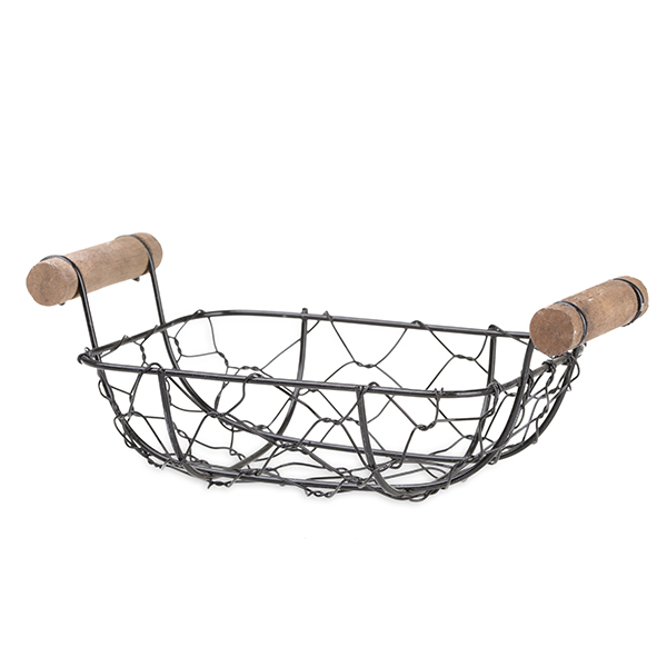 Stella Mini Rect Tray Basket with Wood Handles 5in