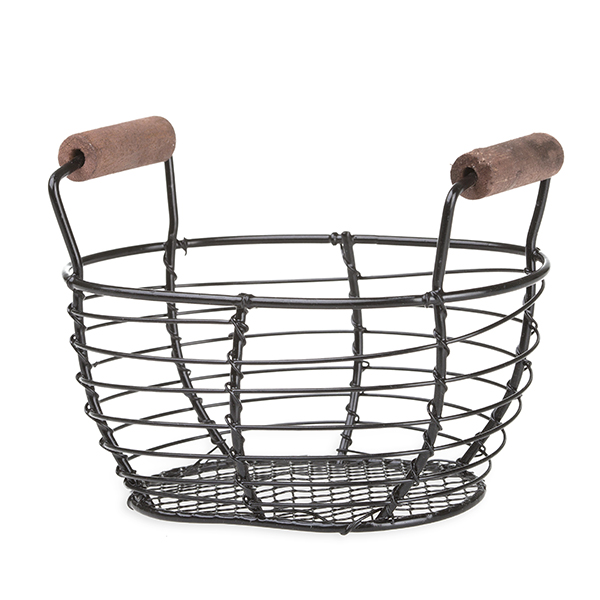 Stella Mini Oblong Wire Basket with Wood Handles 4in